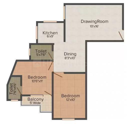 Floor Plan Image of 755.0 - 1086.0 Sq.ft 1 BHK Apartment for buy in Buildcon Maghad Mansion