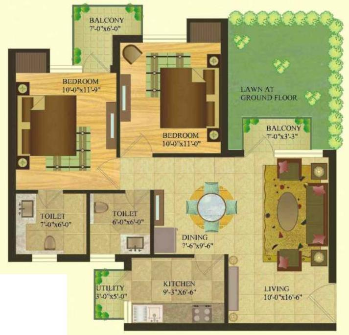 Sare Royal Greens Floor Plan: 2 BHK Unit with Built up area of 940 sq.ft 1