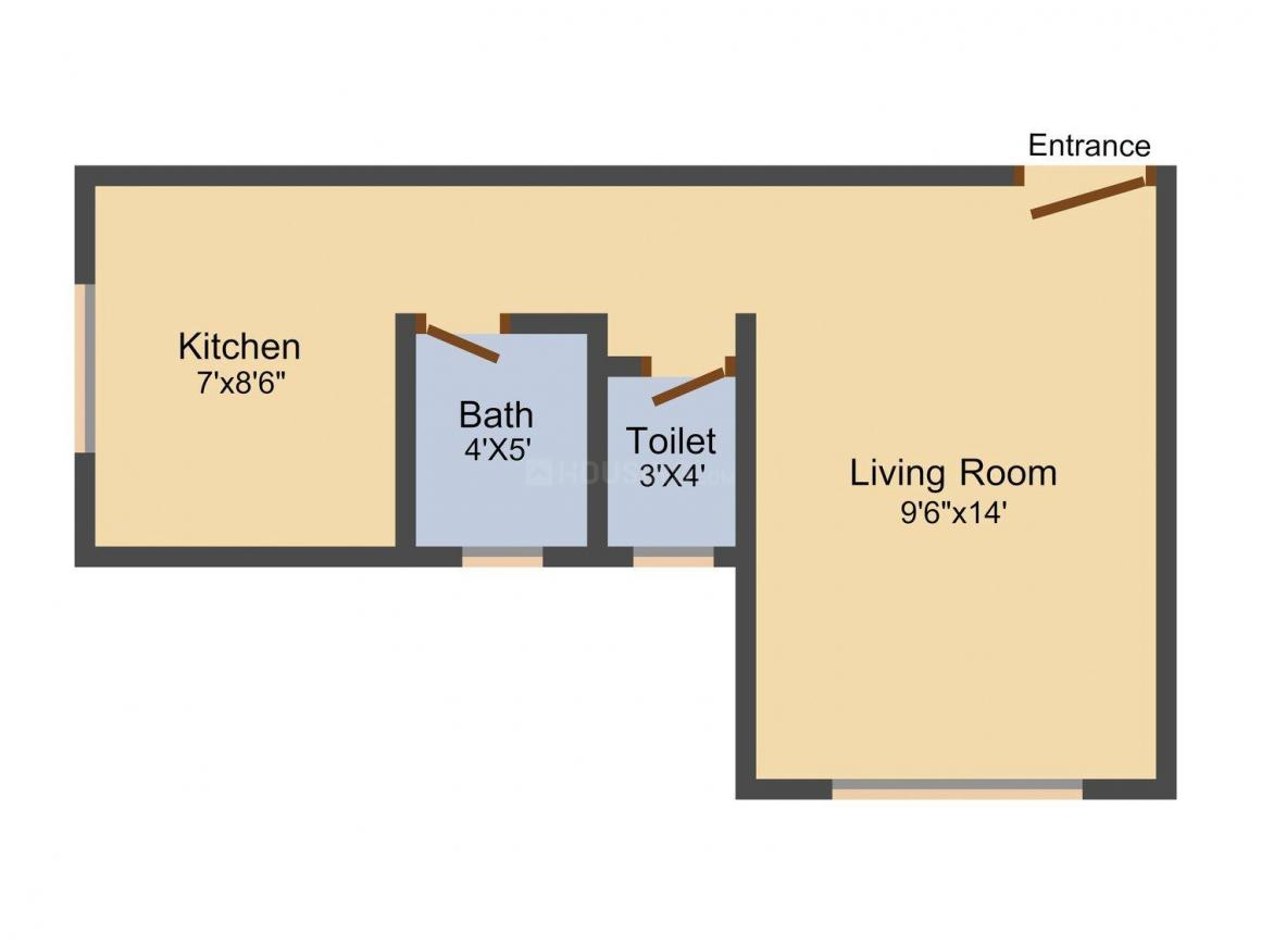 Floor Plan Image of 375 - 875 Sq.ft 1 RK Apartment for buy in Krishna Residency