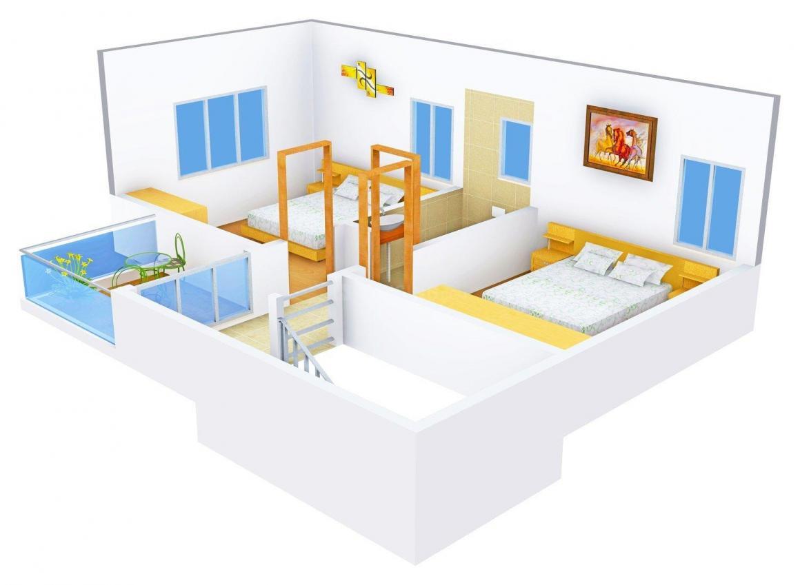 Floor Plan Image of 900 - 1020 Sq.ft 2 BHK Villa for buy in Metro Landmark Annexe