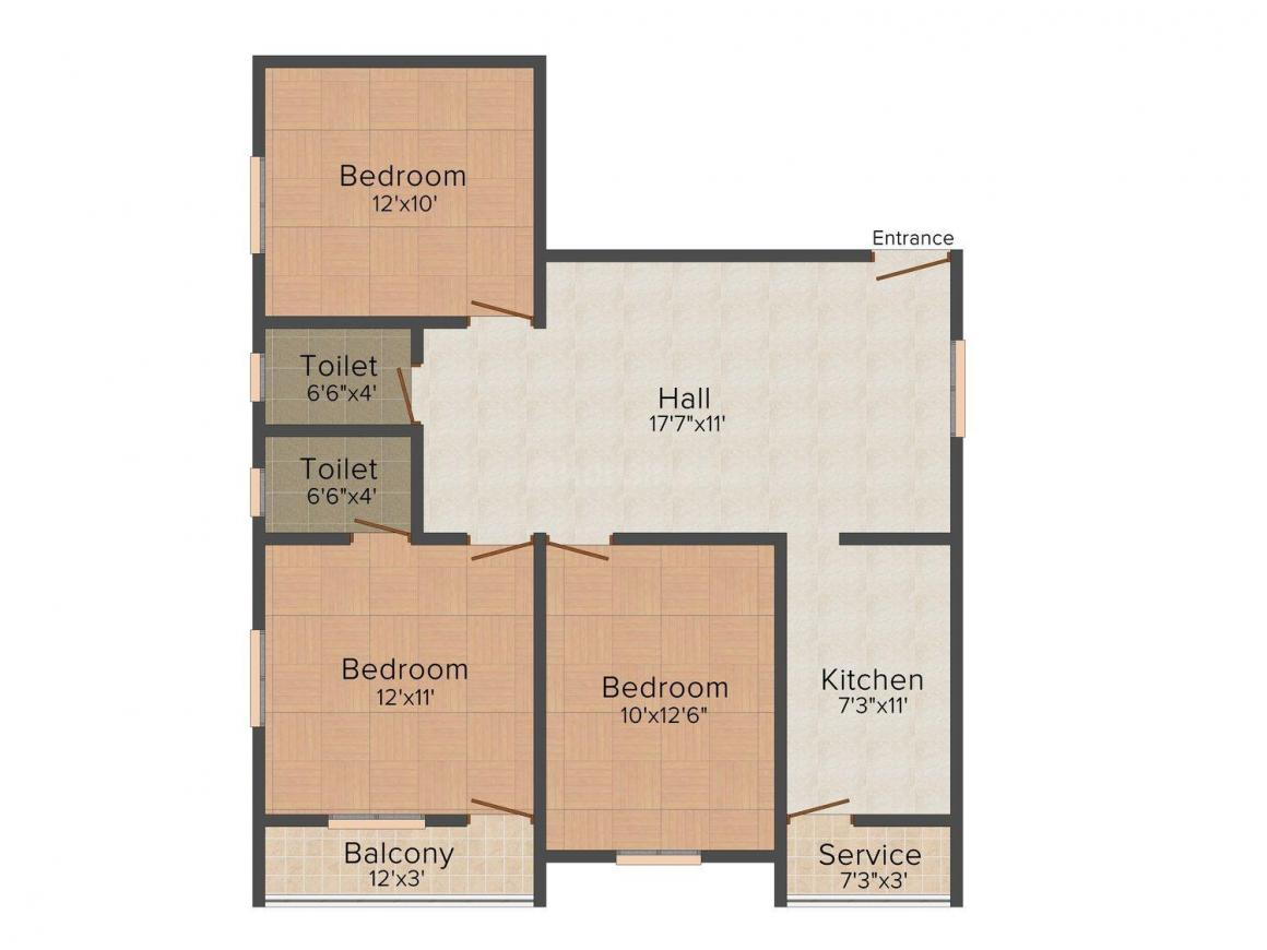 Floor Plan Image of 850.0 - 1176.0 Sq.ft 2 BHK Apartment for buy in AAA's White House
