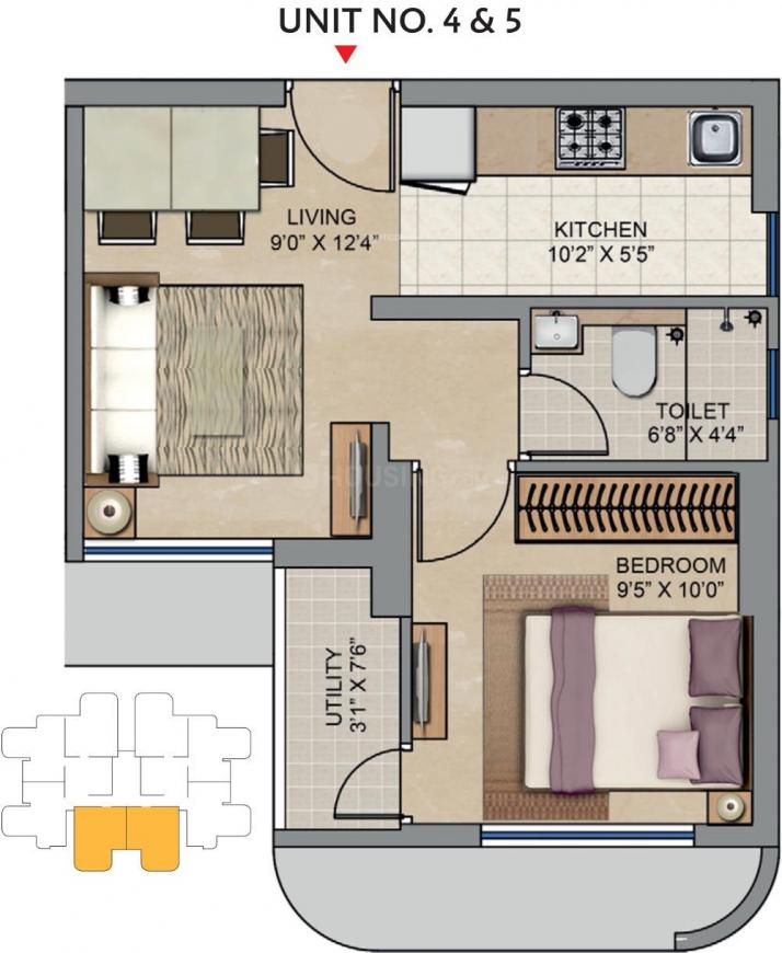 Lodha Codename Move Up Floor Plan: 1 BHK Unit with Built up area of 342 sq.ft 1