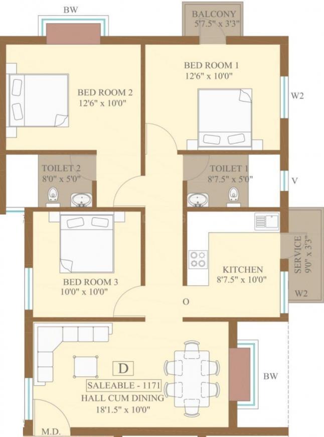 Anmol Prakriti Floor Plan: 3 BHK Unit with Built up area of 1171 sq.ft 1