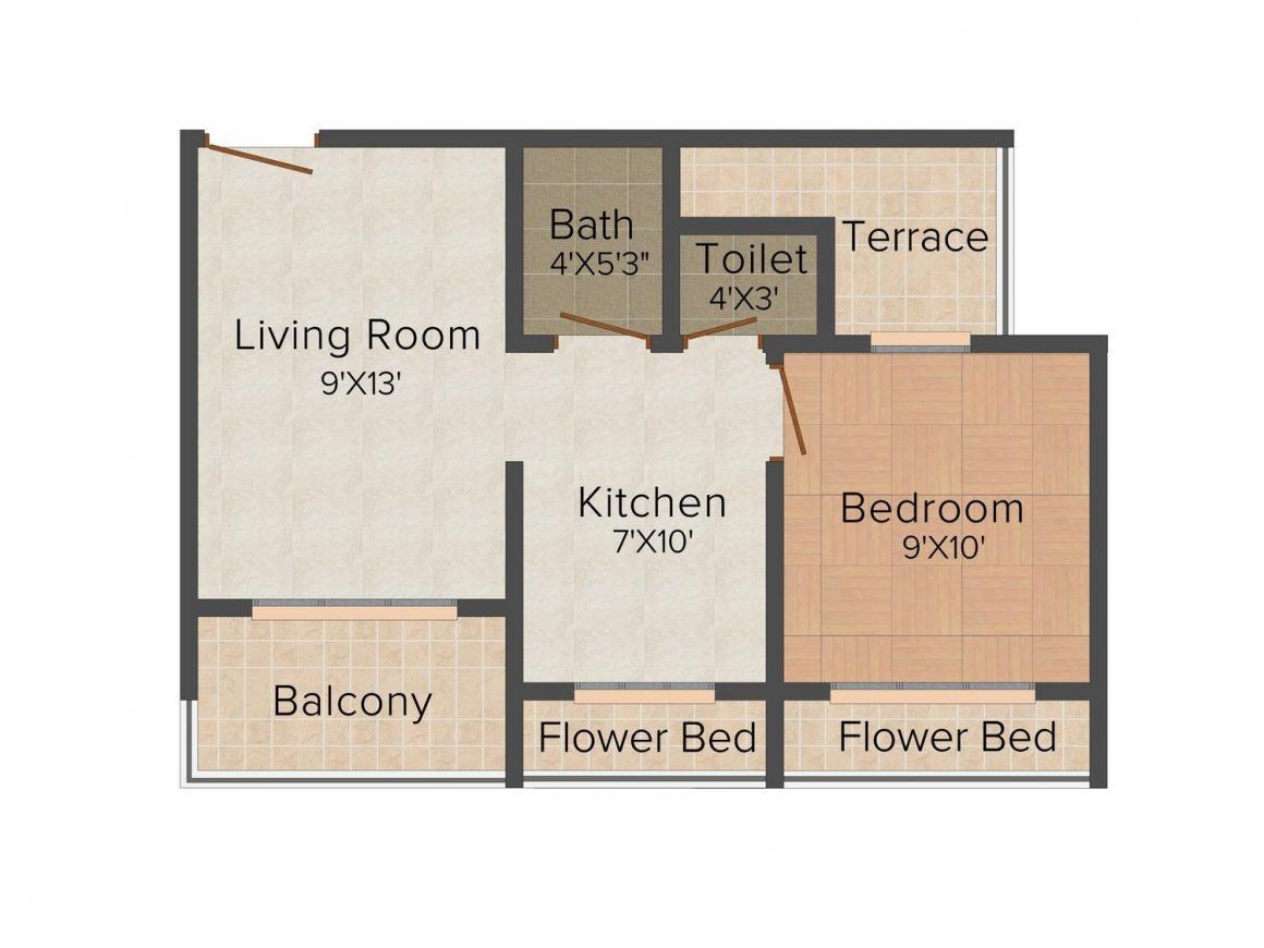 Floor Plan Image of 0 - 434.0 Sq.ft 1 BHK Apartment for buy in Pragati Enclave