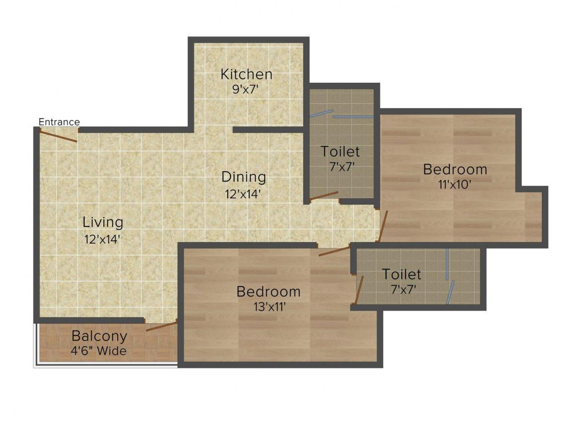 Floor Plan Image of 950 - 2150 Sq.ft 2 BHK Apartment for buy in Divine Heights