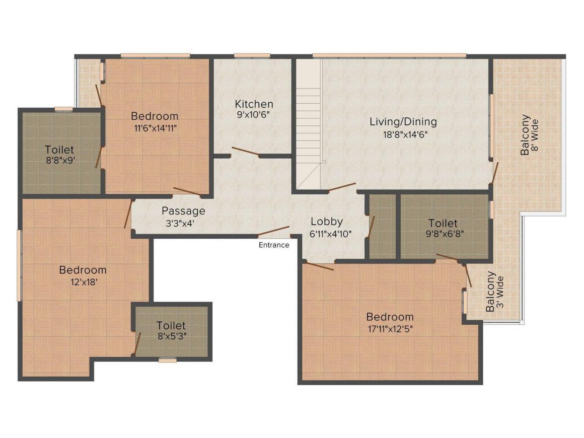 Floor Plan Image of 0 - 2160 Sq.ft 3 BHK Independent Floor for buy in Israni Home 5
