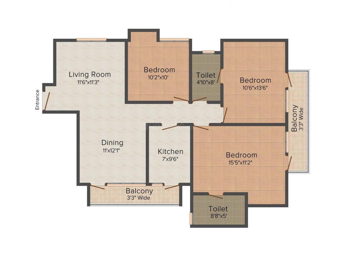 Floor Plan Image of 1380 - 3650 Sq.ft 3 BHK Apartment for buy in Parsvnath Exotica - Phase 2