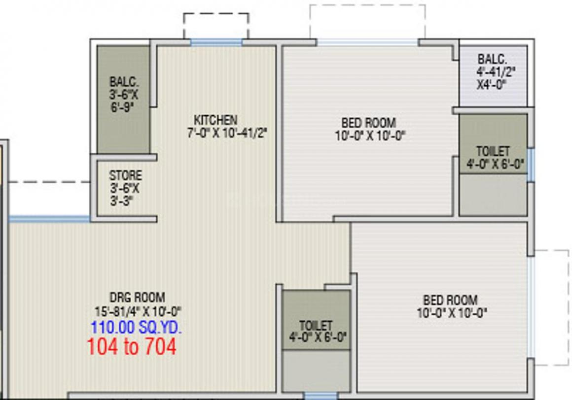 Dharti Exotica Floor Plan: 2 BHK Unit with Built up area of 990 sq.ft 1