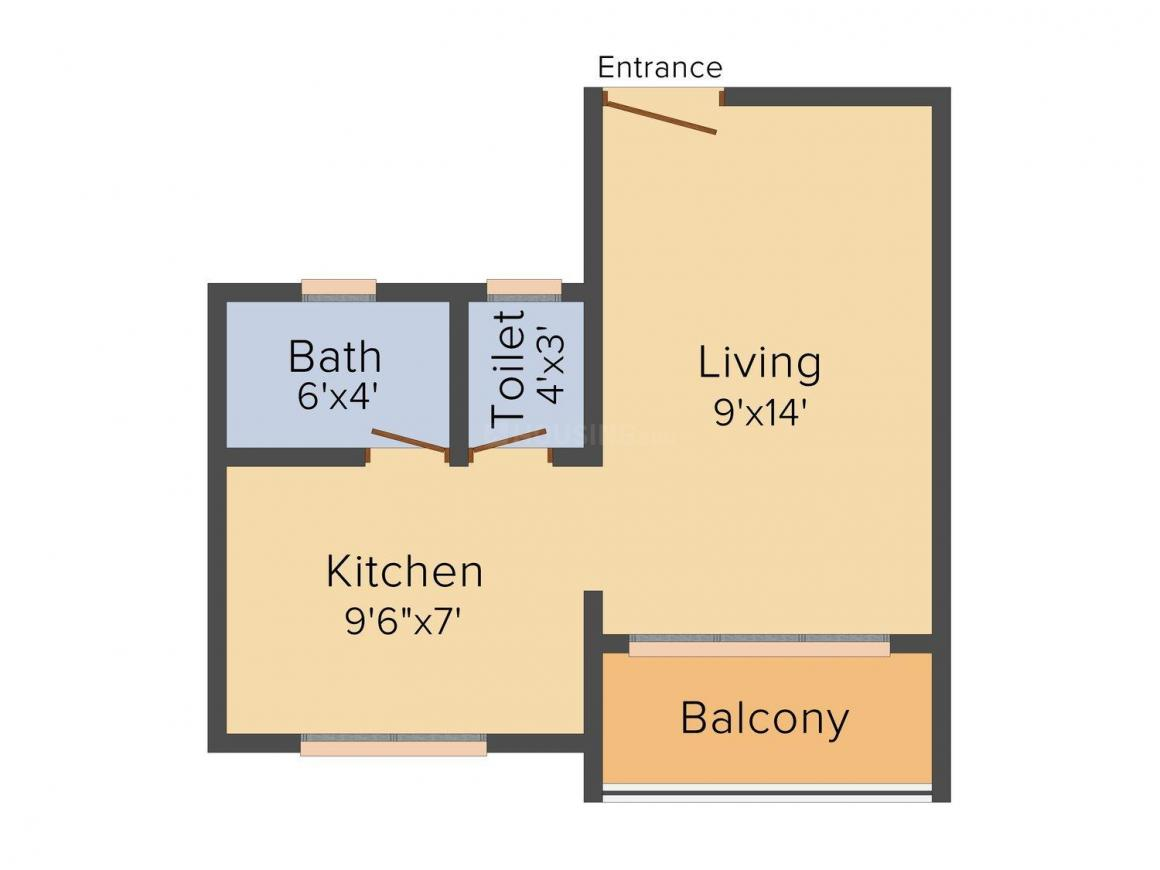 Floor Plan Image of 0 - 365.0 Sq.ft 1 RK Apartment for buy in Tri Prince Apartment
