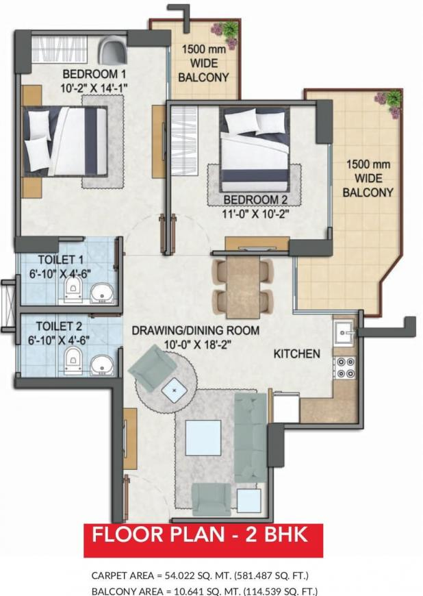 GLS Avenue 81 Floor Plan: 2 BHK Unit with Built up area of 581 sq.ft 1