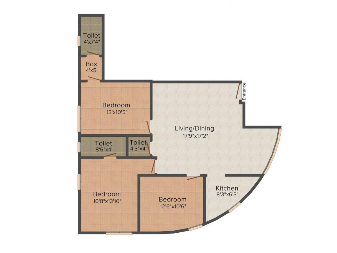 Floor Plan Image of 0 - 1032 Sq.ft 3 BHK Independent Floor for buy in Swastic Homes - 7