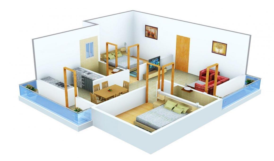 Floor Plan Image of 1140.0 - 1450.0 Sq.ft 2 BHK Apartment for buy in Nishitas Sai Sathveek Residency