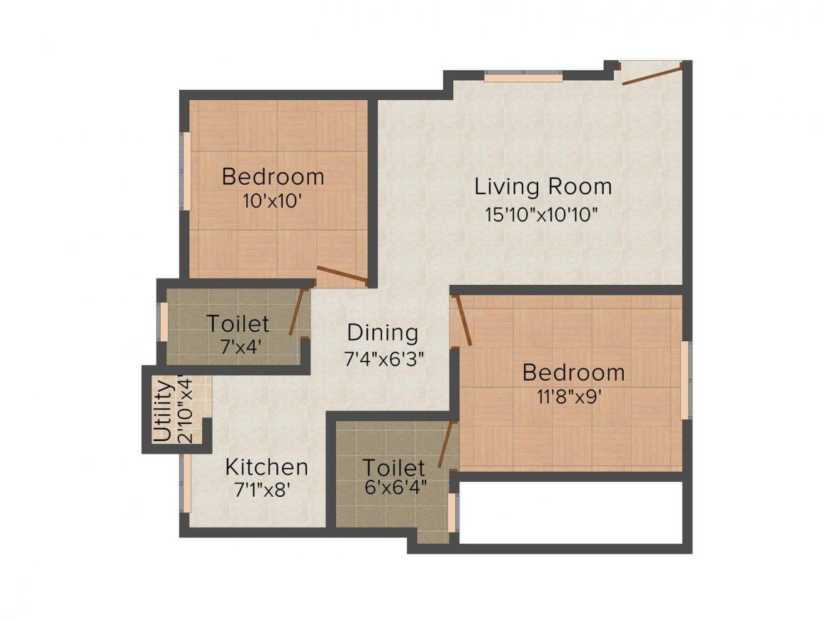 Floor Plan Image of 950.0 - 1250.0 Sq.ft 2 BHK Apartment for buy in Aspen Gold