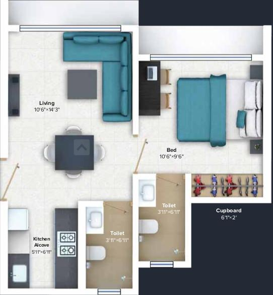 Marathon Nexworld Floor Plan: 1 BHK Unit with Built up area of 334 sq.ft 1