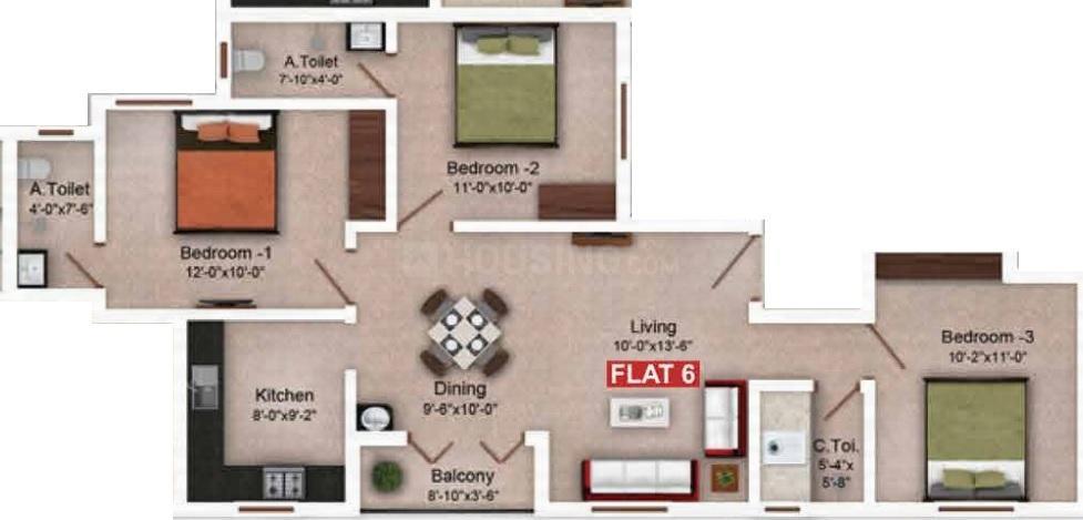 Saradeuz Tulip Floor Plan: 3 BHK Unit with Built up area of 1124 sq.ft 1