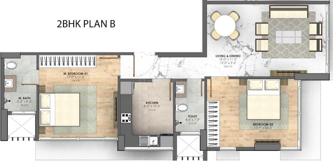 Sugee Paavan Floor Plan: 2 BHK Unit with Built up area of 714 sq.ft 1
