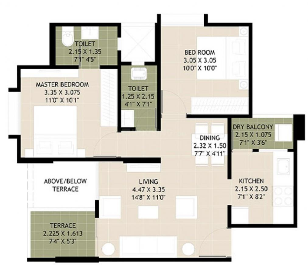 Kolte Patil Crown C1 Floor Plan: 2 BHK Unit with Built up area of 512 sq.ft 1