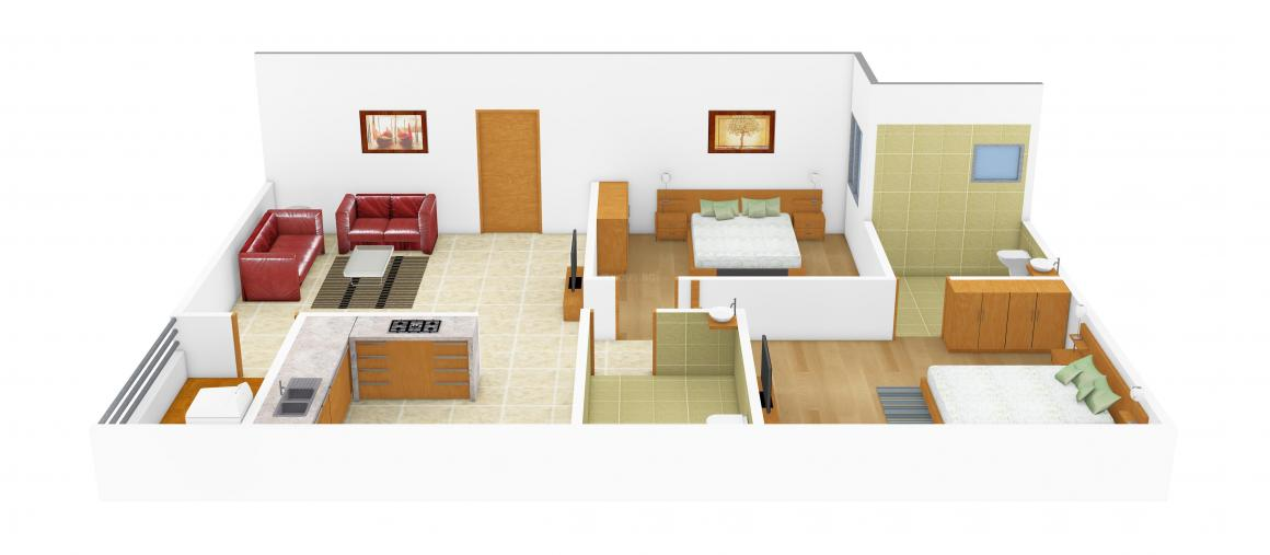 Floor Plan Image of 865 - 1150 Sq.ft 2 BHK Apartment for buy in Mamtha Elegancy