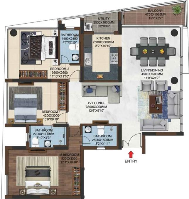 Mantra Sai Garden Floor Plan: 3 BHK Unit with Built up area of 1851 sq.ft 1