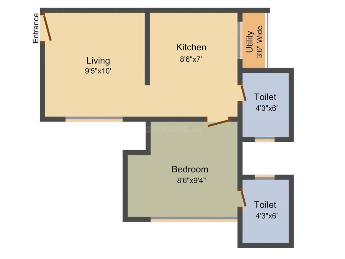 Floor Plan Image of 331.0 - 583.0 Sq.ft 1 BHK Apartment for buy in Nirmal Colosseum