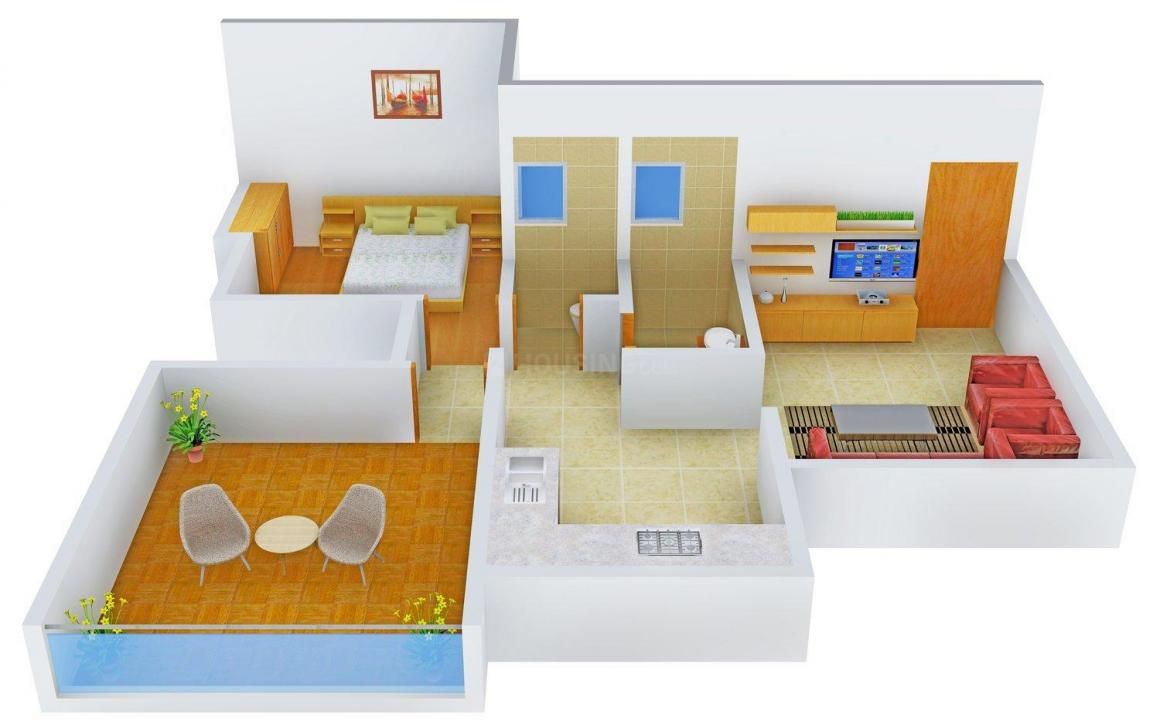 K.D. Archana Trio Floor Plan: 1 BHK Unit with Built up area of 672 sq.ft 1