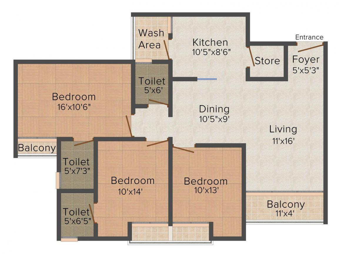 Floor Plan Image of 0 - 1210 Sq.ft 3 BHK Apartment for buy in Shiva Apartment