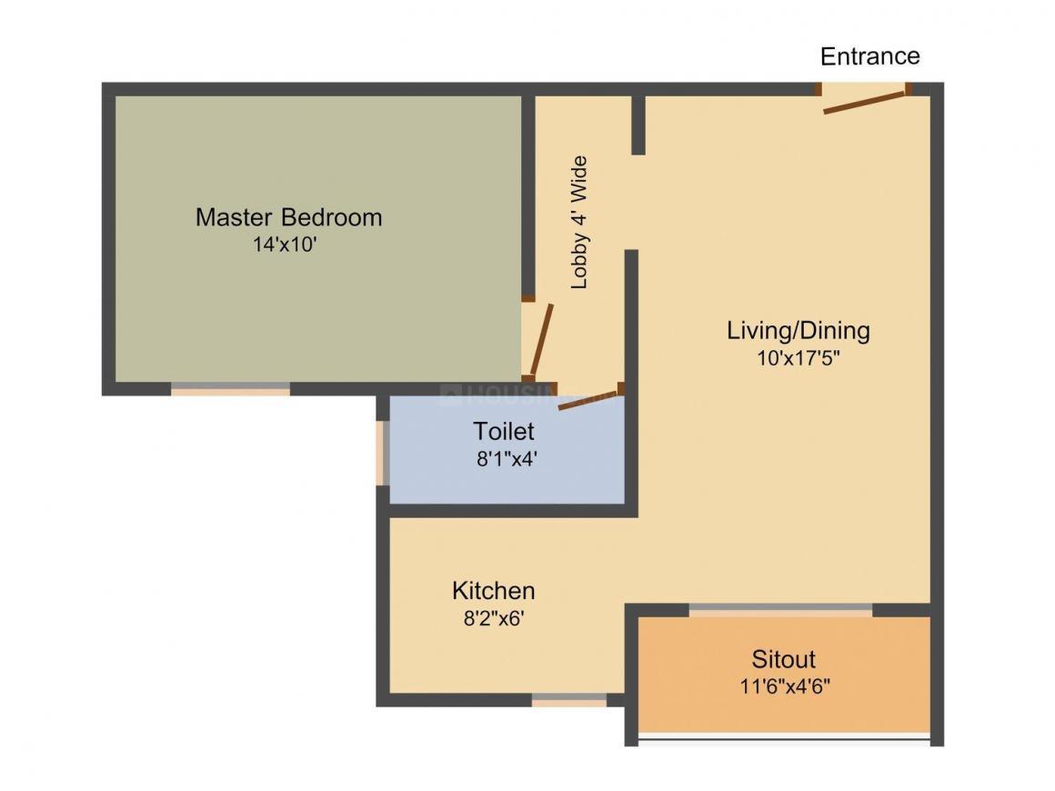 Sri Sri Gruhanirman Aero City Floor Plan: 1 BHK Unit with Built up area of 700 sq.ft 1