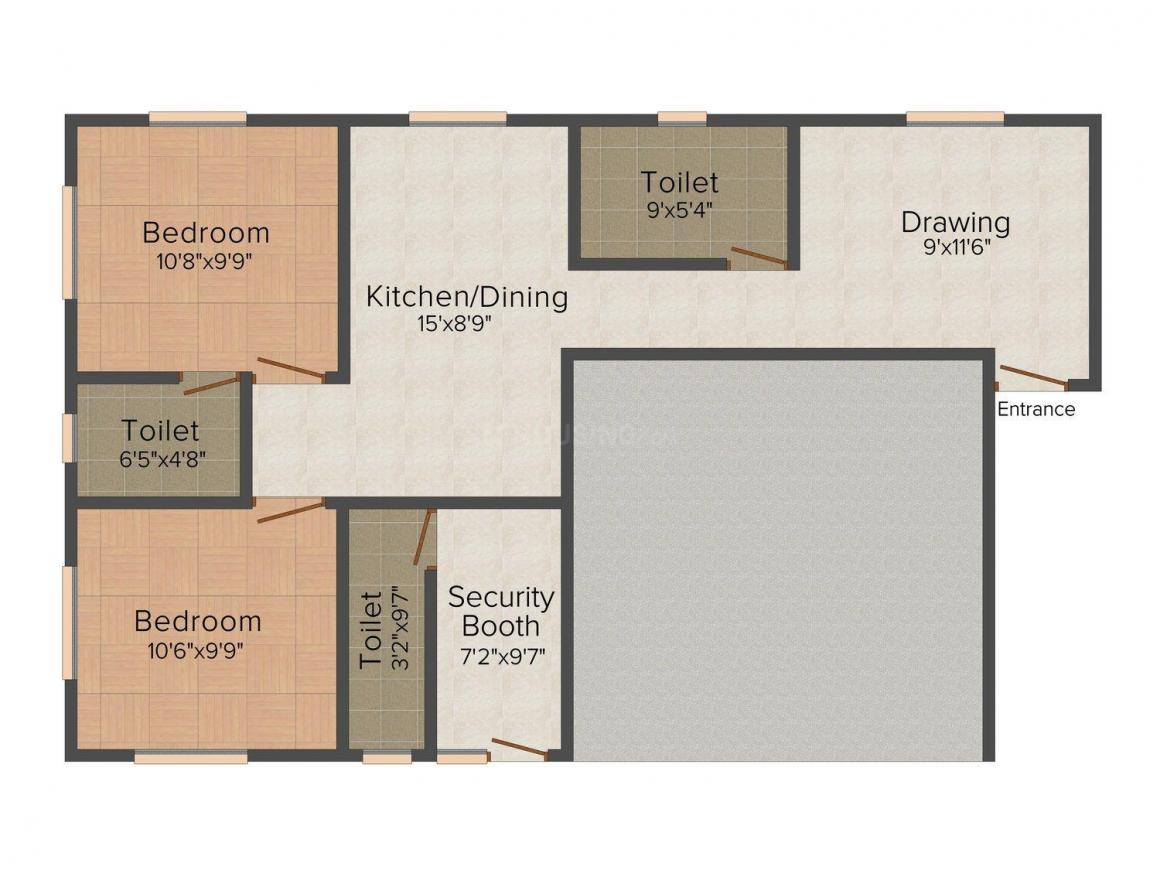 Floor Plan Image of 890.0 - 1150.0 Sq.ft 2 BHK Apartment for buy in 1525 Nayabad