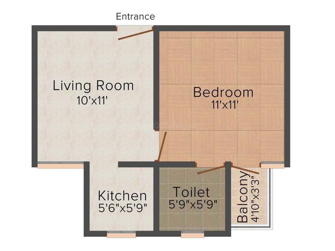 Sanskar Homes-19 Floor Plan: 1 BHK Unit with Built up area of 450 sq.ft 1