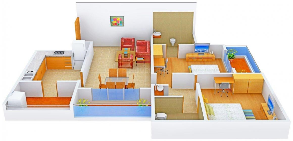 Floor Plan Image of 1205 - 3848 Sq.ft 2 BHK Apartment for buy in Olive Iantha