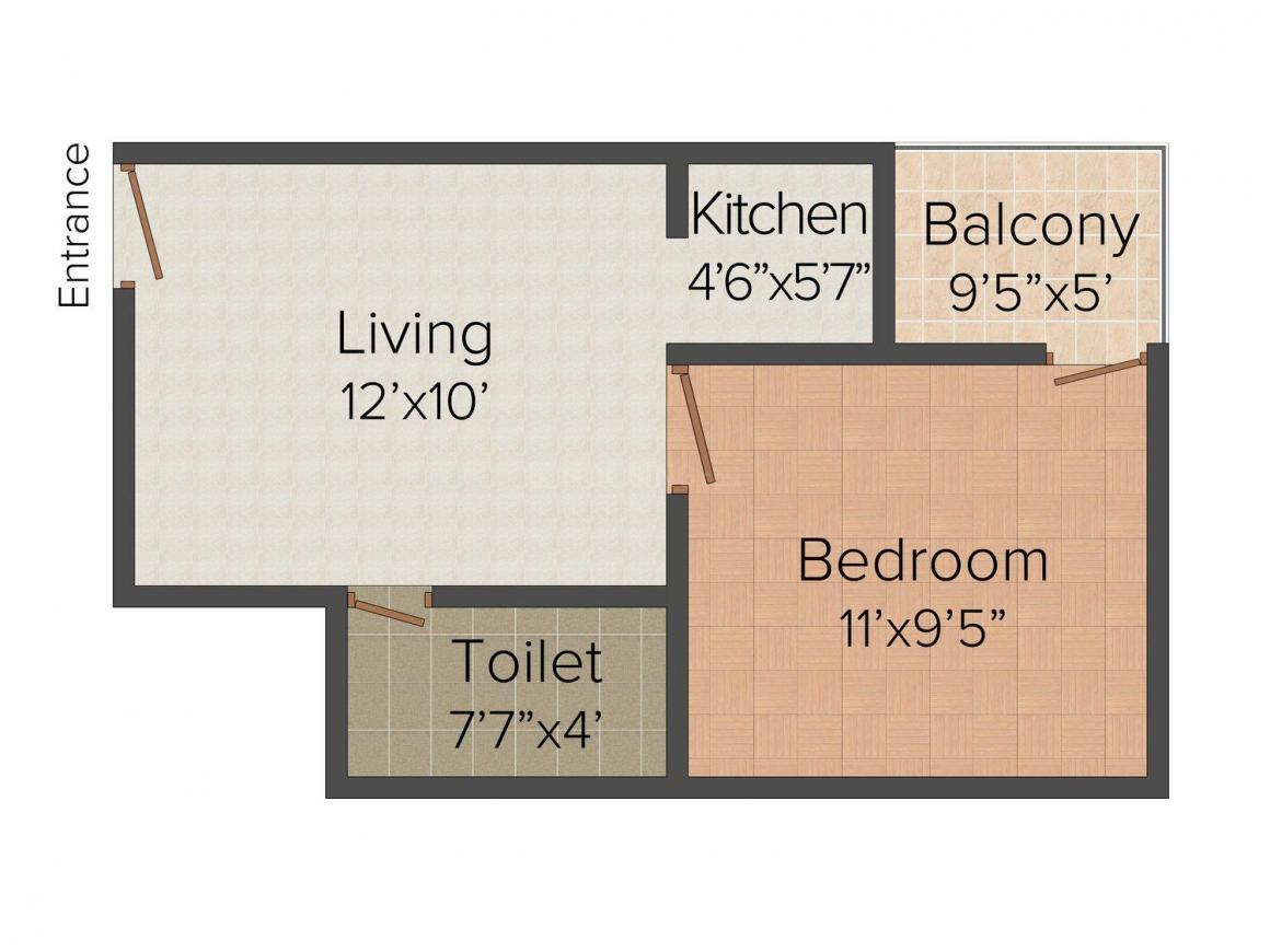 Floor Plan Image of 647.0 - 780.0 Sq.ft 1 BHK Independent Floor for buy in RDR Homz 2