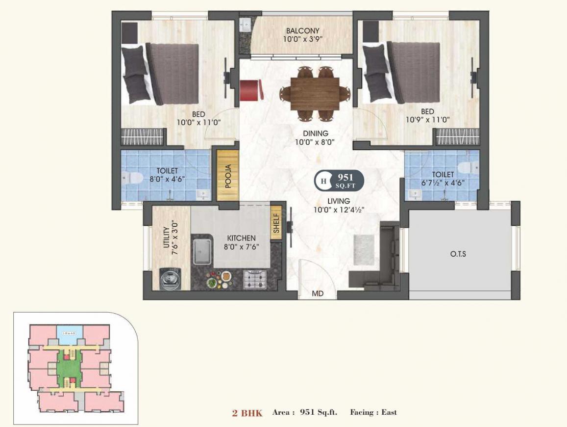 DAC Chromantique Floor Plan: 2 BHK Unit with Built up area of 951 sq.ft 1