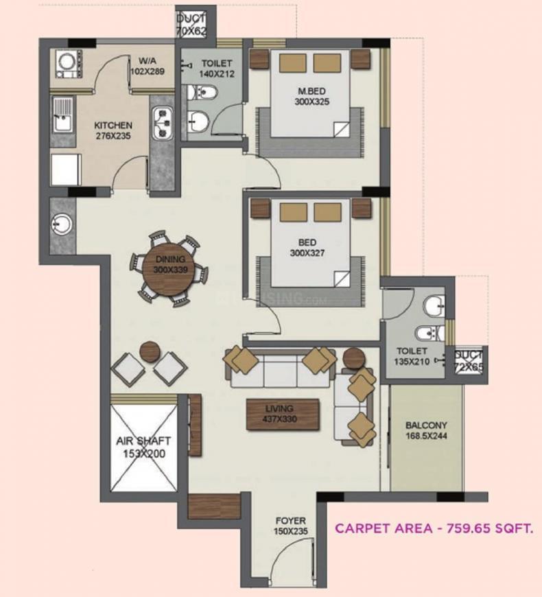 Sreerosh Bharath Floor Plan: 2 BHK Unit with Built up area of 760 sq.ft 1