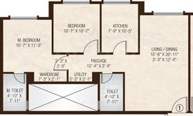 Hiranandani Atlantis A And B Wing Floor Plan: 2 BHK Unit with Built up area of 762 sq.ft 1