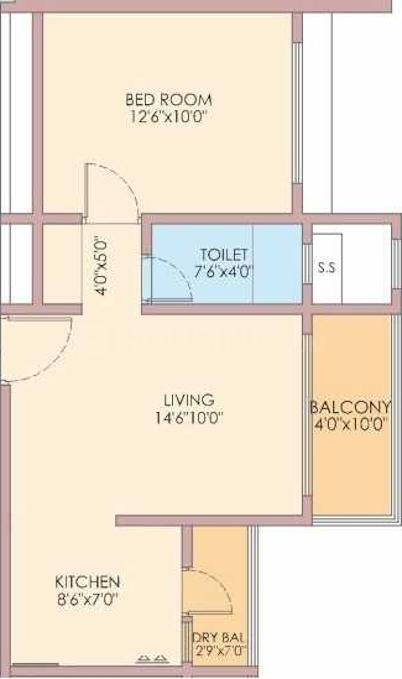 Goel Ganga Newtown Phase 2 Floor Plan: 1 BHK Unit with Built up area of 419 sq.ft 1