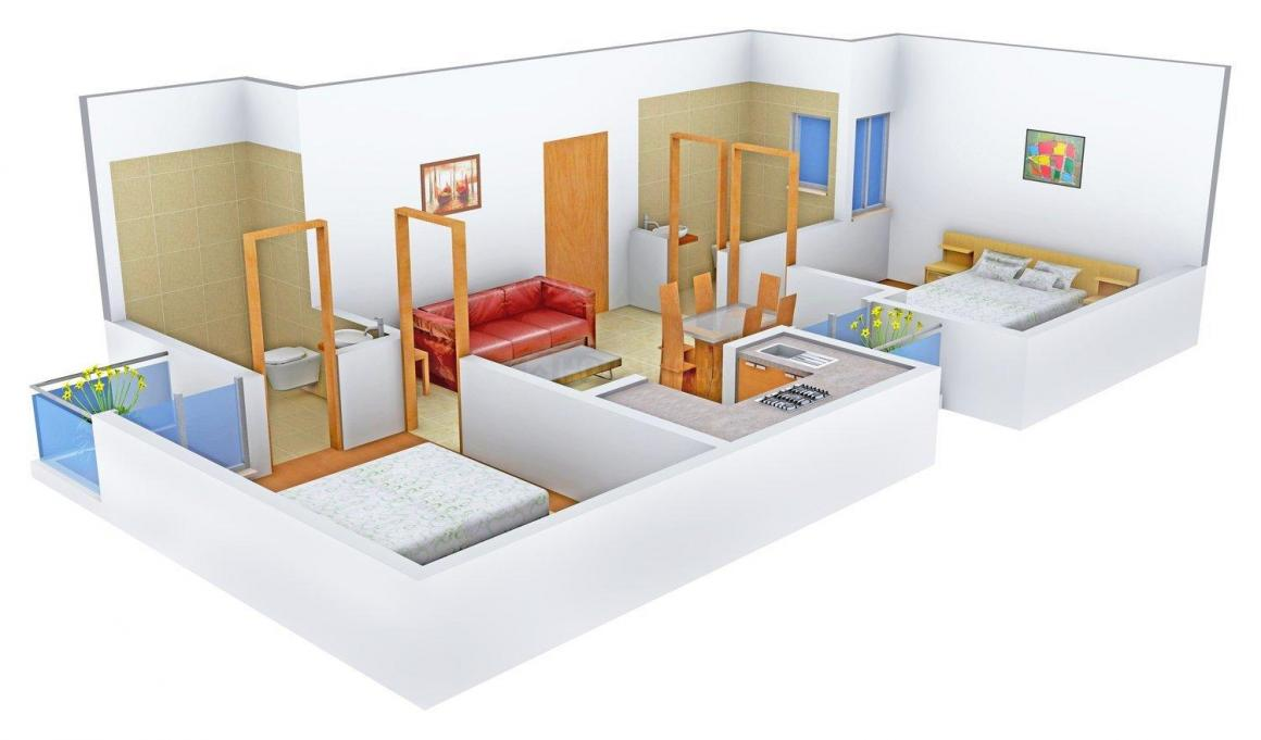 Mayur Homes Floor Plan: 2 BHK Unit with Built up area of 900 sq.ft 1