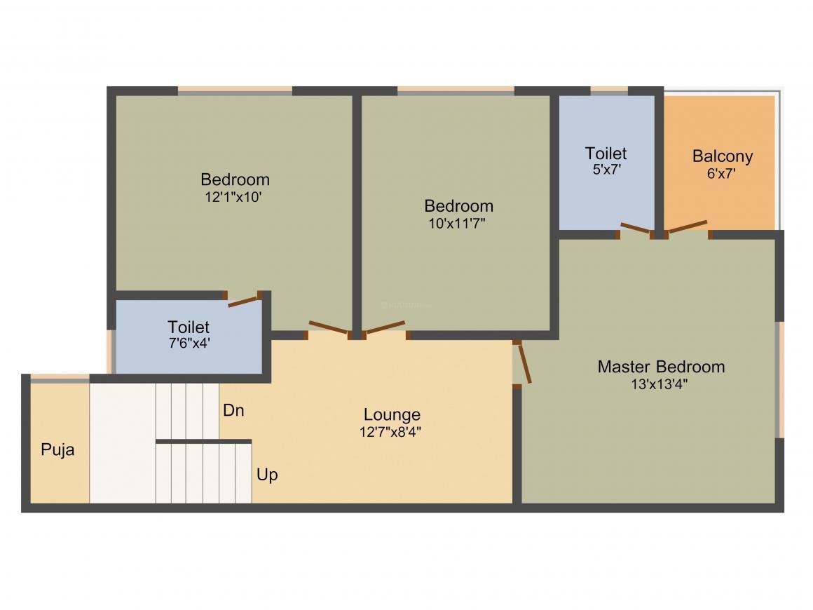 Binori Rosella Floor Plan: 3 BHK Unit with Built up area of 1800 sq.ft 2