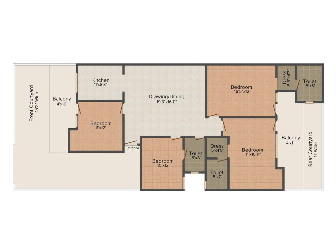 XS Homes - 14 Floor Plan: 4 BHK Unit with Built up area of 2500 sq.ft 1