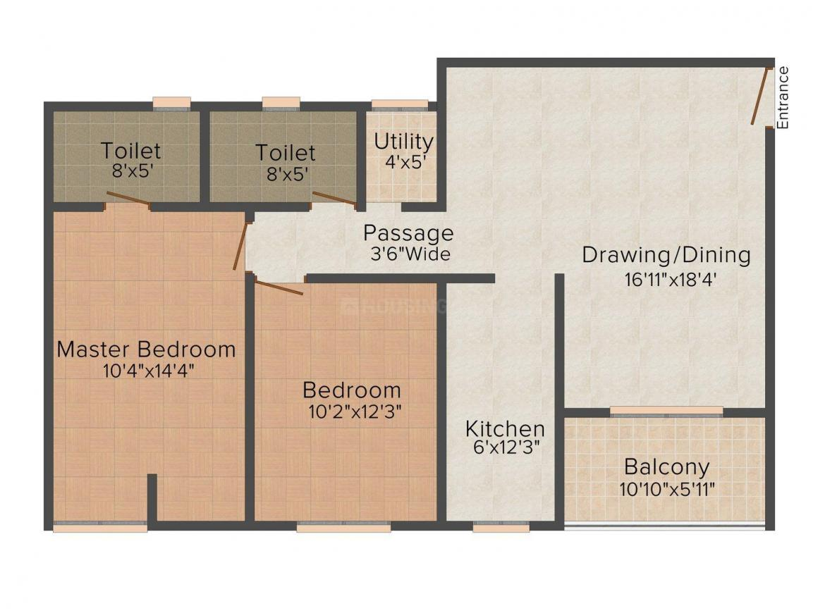 Floor Plan Image of 0 - 1150 Sq.ft 2 BHK Apartment for buy in Ashiana Aster
