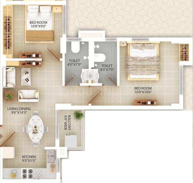 Deewakar Shristi Floor Plan: 2 BHK Unit with Built up area of 734 sq.ft 1