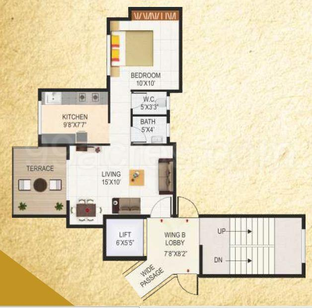 Sai Proviso County  Floor Plan: 1 BHK Unit with Built up area of 461 sq.ft 1