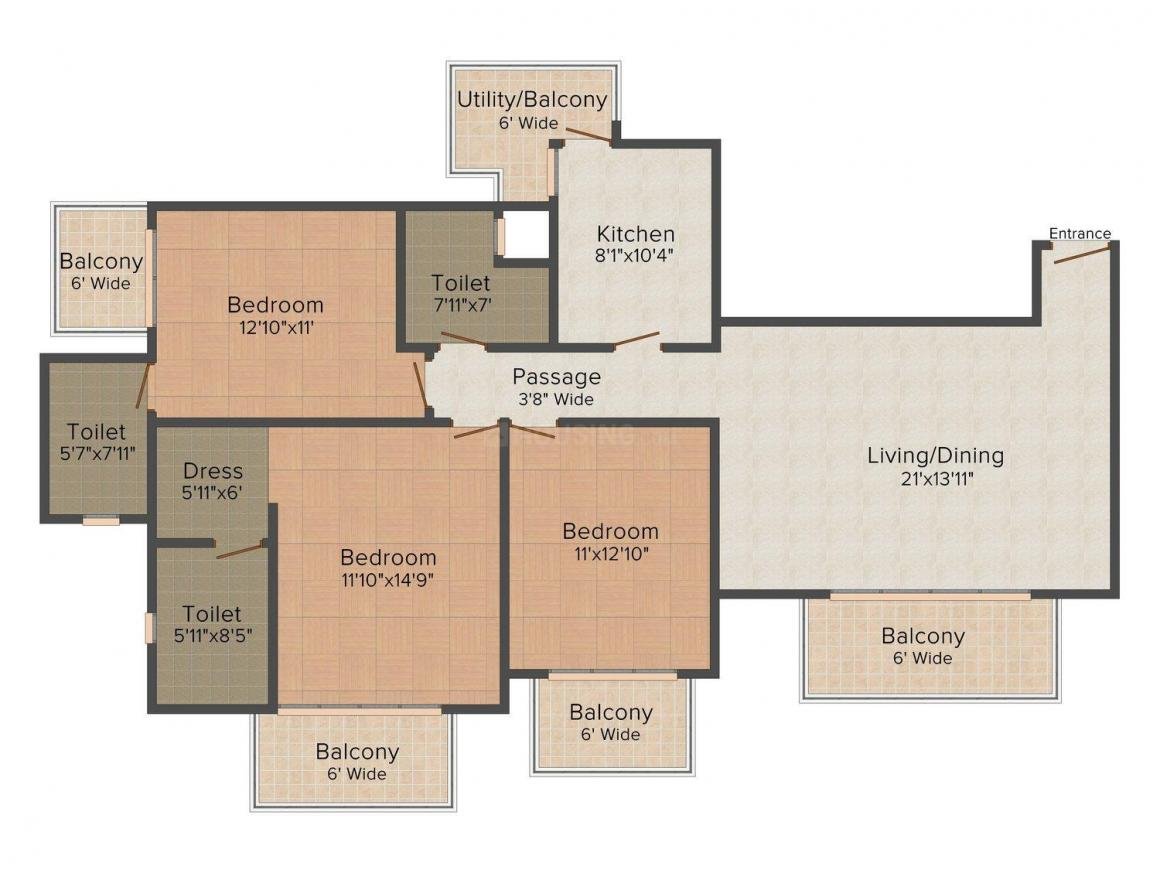 ATS Marigold Floor Plan: 3 BHK Unit with Built up area of 1750 sq.ft 1