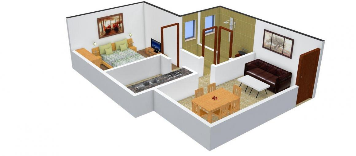 Floor Plan Image of 630.0 - 910.0 Sq.ft 1 BHK Apartment for buy in Radha Roop Complex