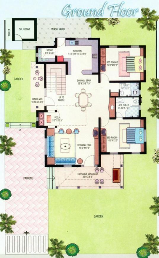 Gopi Vraj Gopi Ville 1 Floor Plan: 4 BHK Unit with Built up area of 4060 sq.ft 1