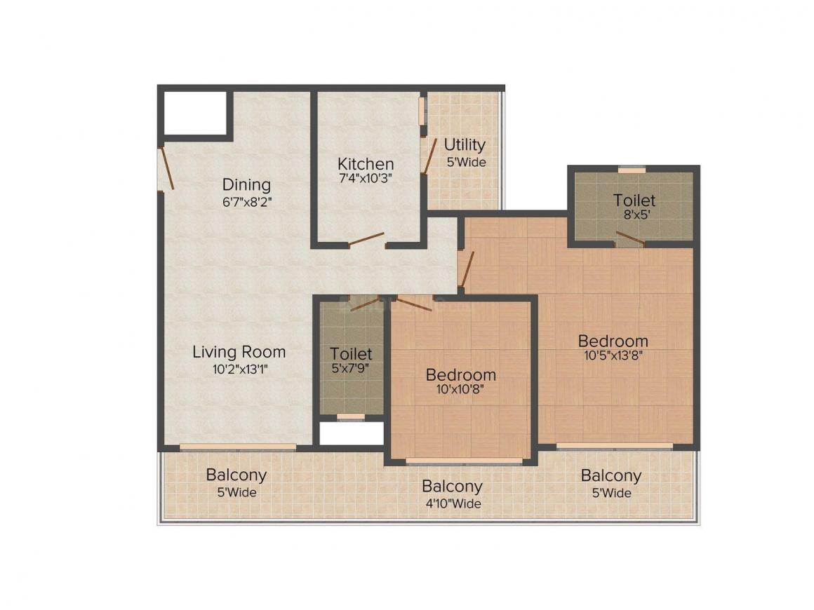 Floor Plan Image of 0 - 729.0 Sq.ft 2 BHK Apartment for buy in Jupiter Thousands Palms