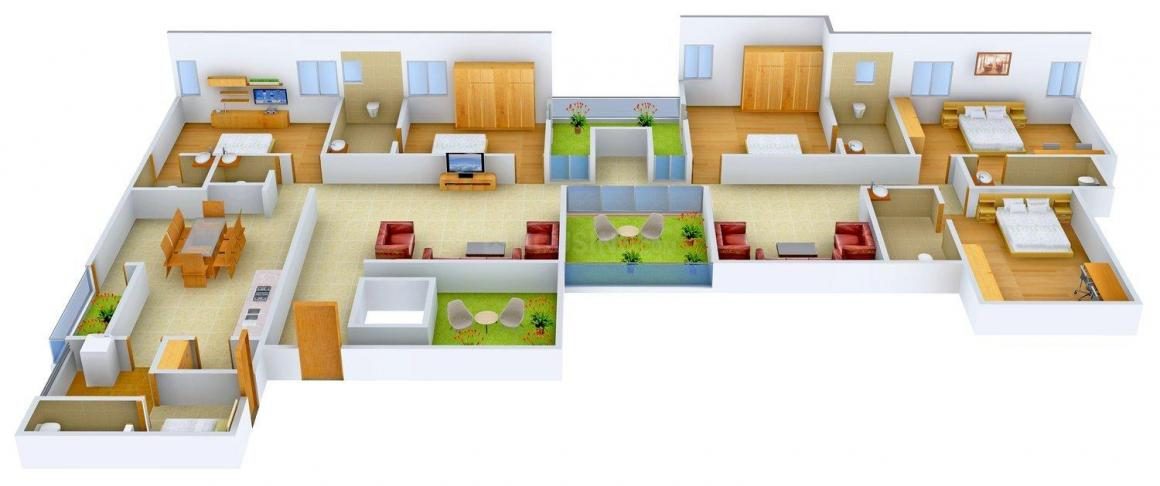 Rajyash Richmond Floor Plan: 5 BHK Unit with Built up area of 2995 sq.ft 2