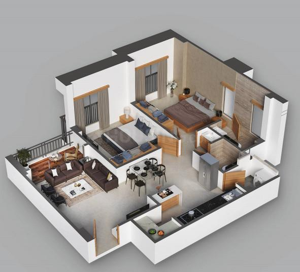 Shree Hari Divine Floor Plan: 2 BHK Unit with Built up area of 663 sq.ft 1