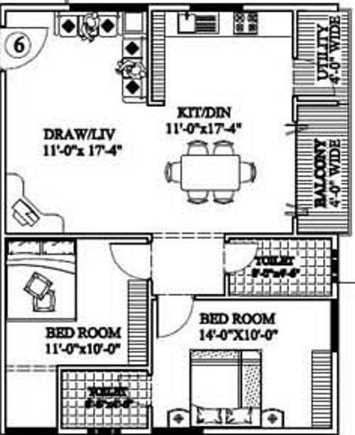 Floor Plan Image of 1100.0 - 1415.0 Sq.ft 2 BHK Apartment for buy in Tetra Green Elegance