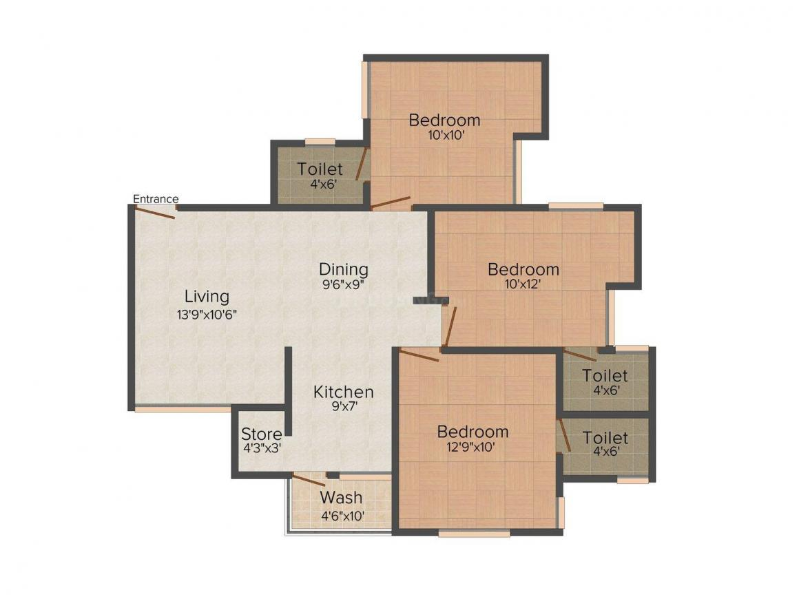 Floor Plan Image of 0 - 1324.0 Sq.ft 3 BHK Apartment for buy in Shyamal Skylife Tower IV