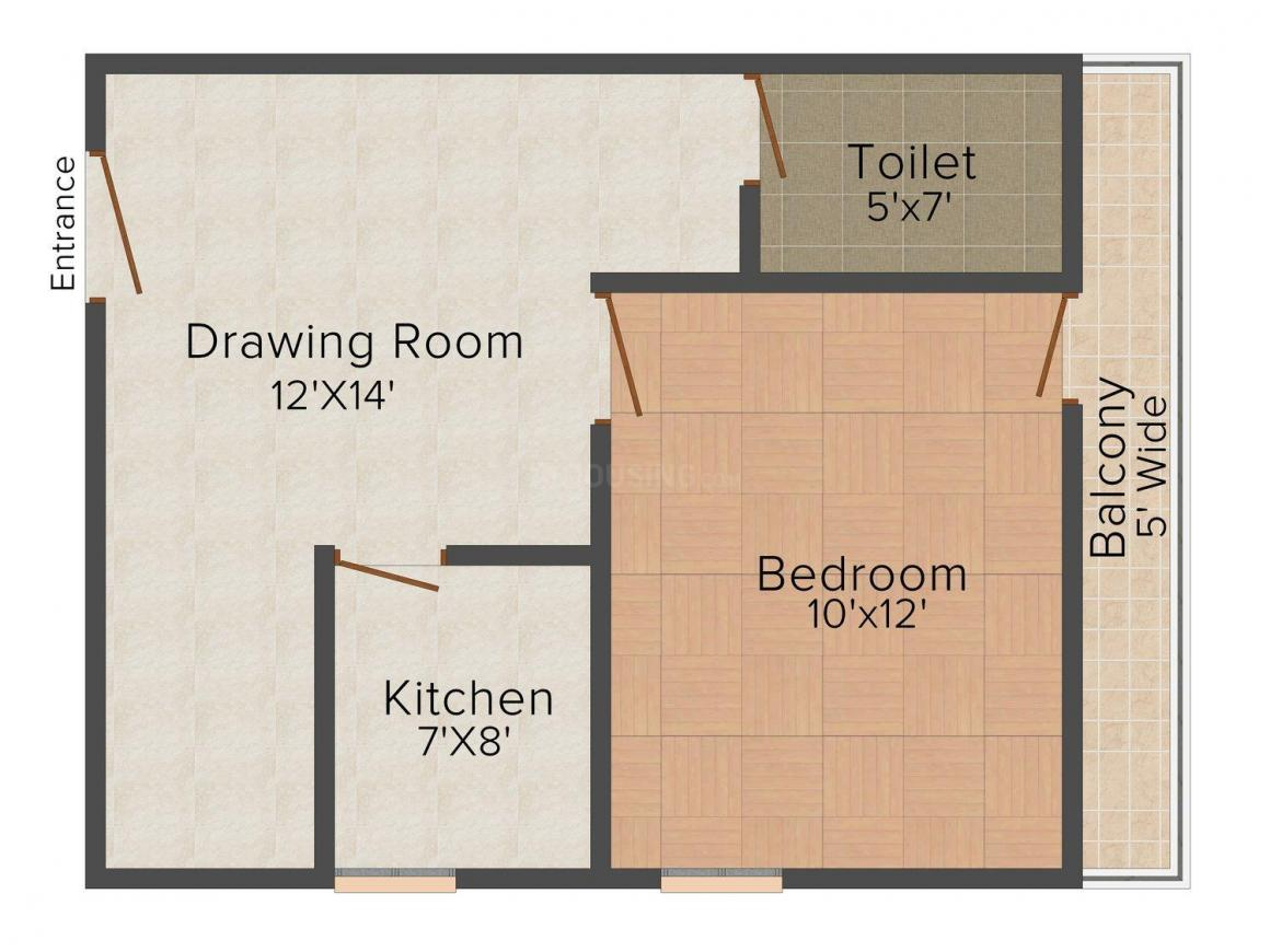 Maaz Apartment - 2 Floor Plan: 1 BHK Unit with Built up area of 450 sq.ft 1
